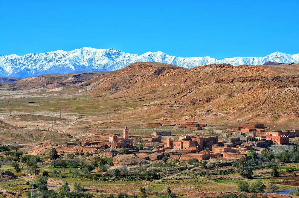 Atlas mountains with town in Morocco