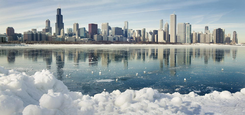 Frozen Chicago cityscape