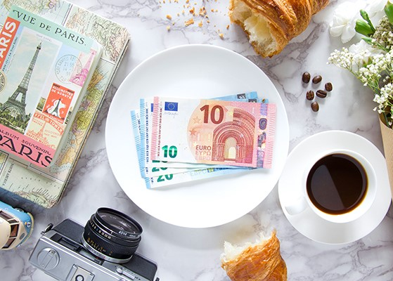 Selection of Euros on table