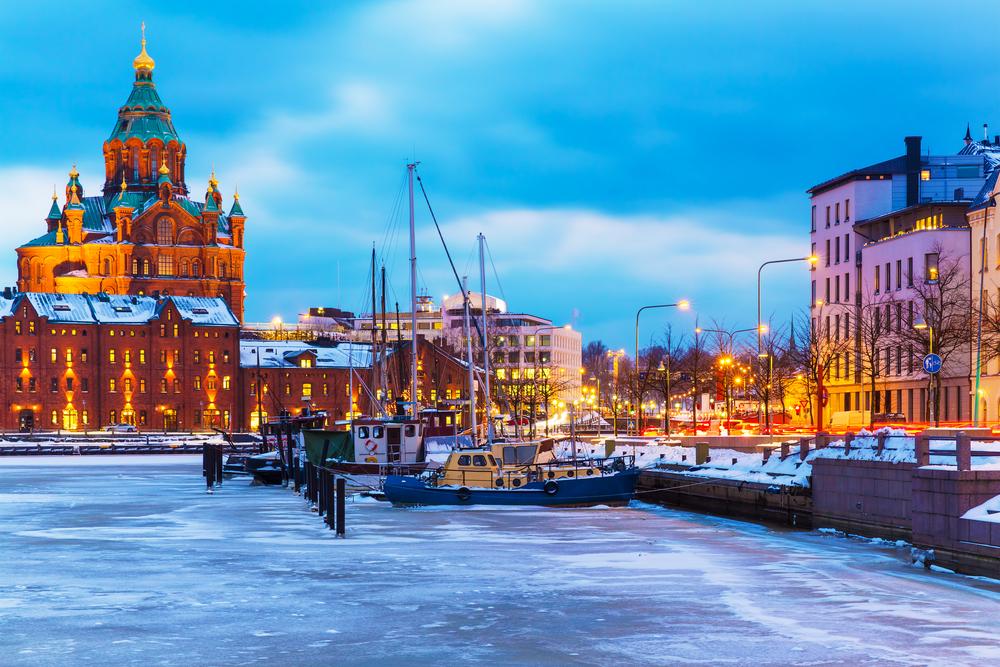 Frozen river in Helsinki