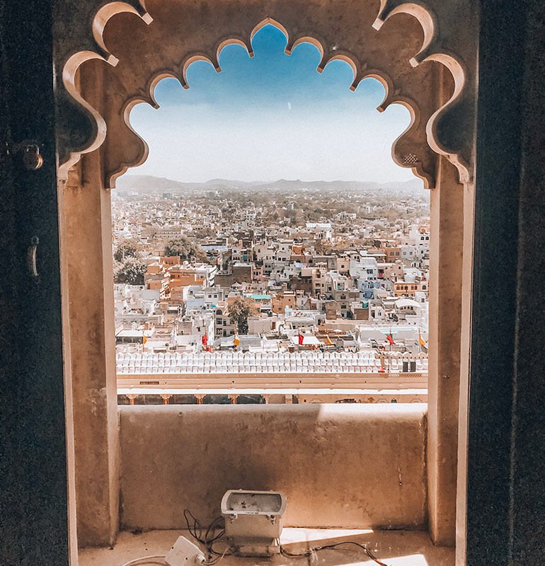 Indian city through a window