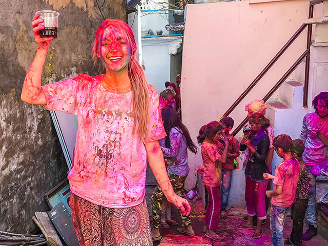 Woman celebrating Holi Festival