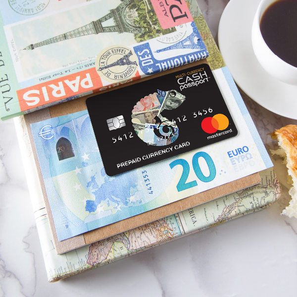 European currency with travel money card