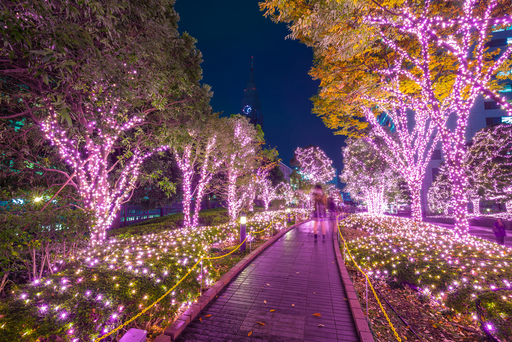 Purple lights in Tokyo at night