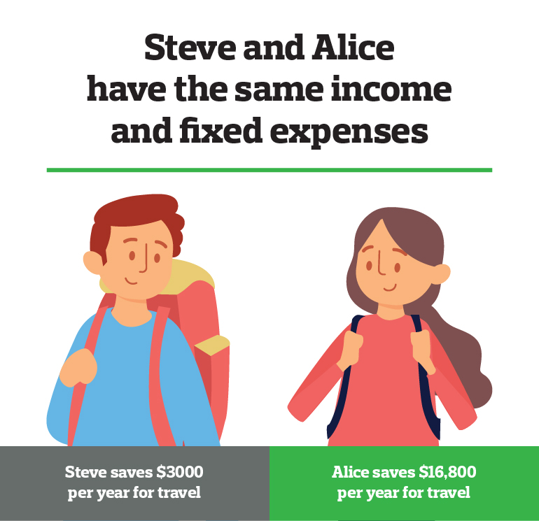 Steve and Alice travel budget