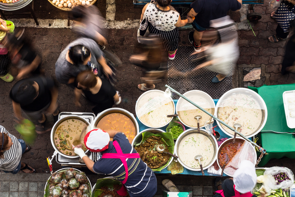 Busy street markets in Thailand