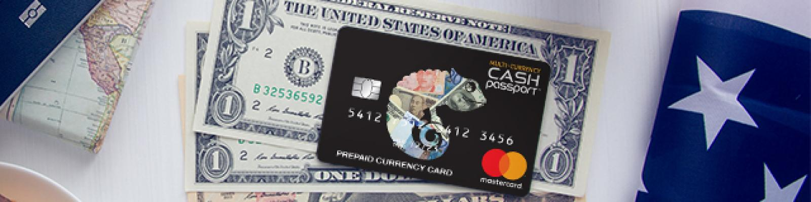 United States Currency with travel money card