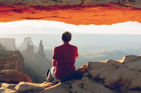 man in grand canyon