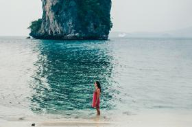 Girl on beach in Koh Samui