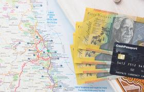 Australian currency and pre paid travel money card