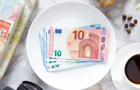 Europe currency with diary and coffee