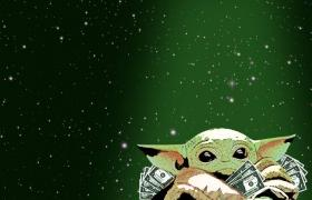 Baby yoda with money