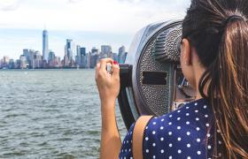 Girl overlooks new york