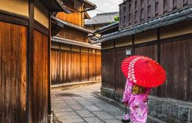 Japanese lady walking with red umbrella